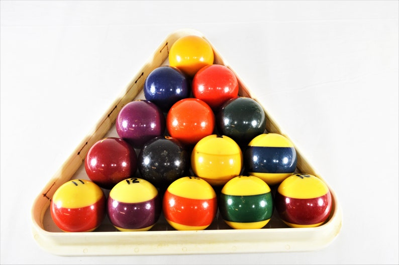 VintageAntique Pool Balls,Billiard Game Set,Bakelite Pool Balls,Size 2-14\u201d,Stripes And Solids Collectible Billiard Set,Home or Bar Decor