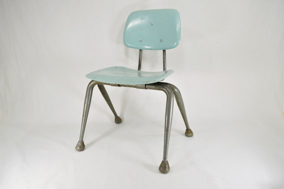 Vintage Robin Egg Blue Children's School Chair, Mi
