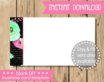 Blank DIY Business Card - Pink Mint Flower - Do It Yourself Blank Business Card Template - Blank Business Card - INSTANT DOWNLOAD