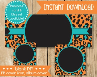 Items similar to blank diy facebook set watercolor vine do it blank diy facebook set orange teal leopard do it yourself blank facebook cover solutioingenieria Choice Image
