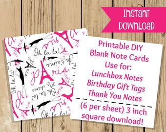 Printable Paris Note Cards - Pink Black Blank Flat Note Card - Party Gift Tag - School Lunch Notes - Thank You Notes - 3 Inch Flat Note Card