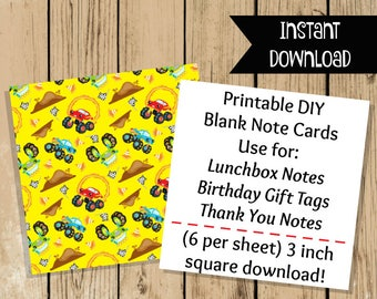 Printable Monster Truck Note Cards - Blank Flat Note Cards - Party Gift Tags - School Lunch Notes - Thank You Notes - 3 Inch Flat Note Card