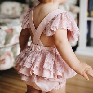 Smash cake outfit Baby romper romper. Cake smash outfit Madras Romper Madras baby ruffle romper