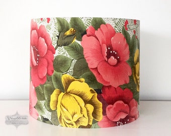Vintage 1950s Roses Lampshade, drum, recycled curtain, yellow and red/pink roses, handmade, faded grandeur, table lamp, standard lamp shade