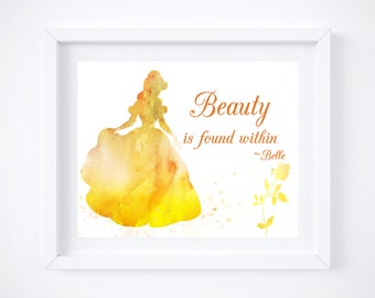 Beauty beast quotes etsy belle beauty the beast watercolor silhouette with quote 10 x 8 voltagebd Choice Image