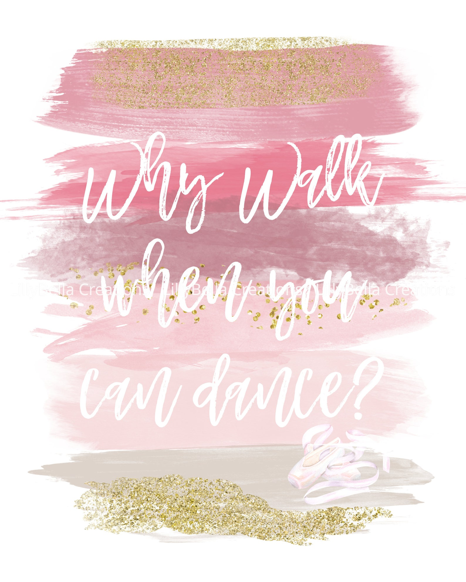 ballet dance - watercolor brush art print with quote: 8