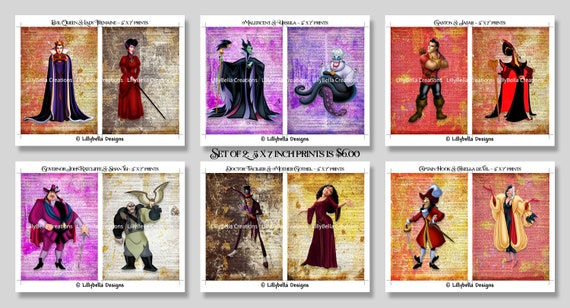 Disney Villains Dictionary Art Print Poster Ursula Hook Maleficent Cruella Jafar
