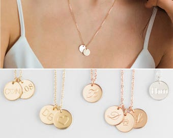 653e79919 Two Initial Necklace, Double Initial Necklace, 2 Initial Necklace, Multiple Initial  Necklace,3 2 Necklace,3 Initial Necklace 14k Gold Disc