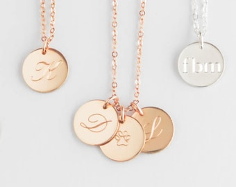 Rose Gold Necklace , Rose Gold Necklace initial, Rose Gold Engraved Necklace, Rose Gold Pendant Necklace, Initial silver rose necklace