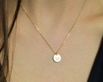 Gold Initial Disc Necklace, Rose gold Necklace, Silver Engraved Initial Pendant, Silver Disc Necklace, Gold engraved initial necklace,