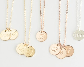 Initial Necklace,Gold, silver,Rose Gold Initial Necklace, Initial Pendant, Initial Disc Necklace, Gold Engraved Necklace, Gold Disc Necklace
