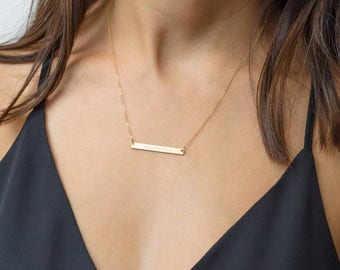 Gold Bar Necklace, Personalized Bar Necklace, Custom Sterling Silver Bar Necklace, Engraved Bar Necklace, Coordinates Gold Bar Necklace Date