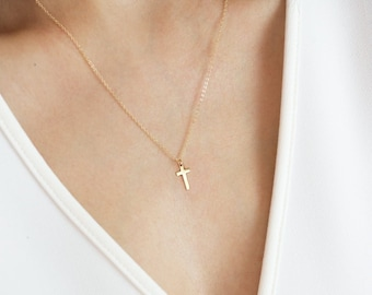 1a72eeb1fff034 Cross Necklace, Gold Cross Necklace, Silver Cross Necklace Women, Sterling  Silver religious jewelry, Gold Cross Pendant, Gold cross charm
