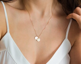 Gold custom Necklace, Rose Gold Initial Necklace, Gold charm necklace, Initial Disc Necklace, Dainty simple necklace, everyday gold necklace