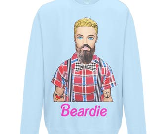 Funny Sweatshirt. Beardie! For that Hipster in Your Life! Beard, Moustache, Facial Hair, Tattoos, Humour, Dolls, Pop Art