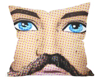 Pop Art Throw Cushion Cover! Those Eyes Though! Blue Eyes/Beard/Moustache/Pop Art/Hipster! Quirky, Doll inspired Art and Gifts, Gay Gifts