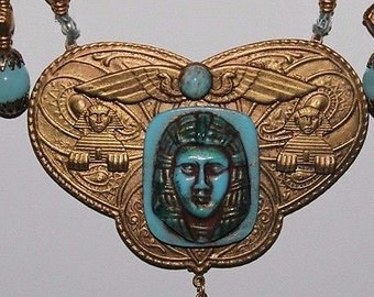 Vintage Egyptian Revival Simulated Turquiose Mask Pendant Necklace And Earrings