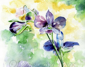 Watercolor orchid, orchid printable, floral print, orchid instant download, elegant painting, garden watercolor, flowers printable, purple