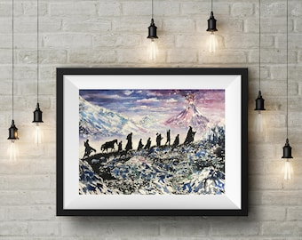 Fellowship of the ring silhouette print,lord of the rings watercolour art,middle earth mount doom painting,lotr art,the hobbit trek decor