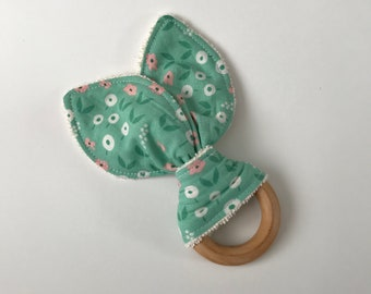 Mint Floral Snails, Organic Teething Ring, Teething Toy, Bunny Ears, Maple Wood Teether, Baby Toy, Baby Gift, Baby Shower