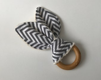 Monochrome Chevron, Organic Teething Ring, Teething Toy, Bunny Ears, Maple Wood Teether, Baby Toy, Baby Gift, Baby Shower