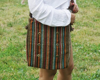 FREE SHIPPING!!bohemian cross body bag, tribal bag, gypsy cross body bag, vintage hands free bag, peruvian bag, handmade bag, ethnic bag