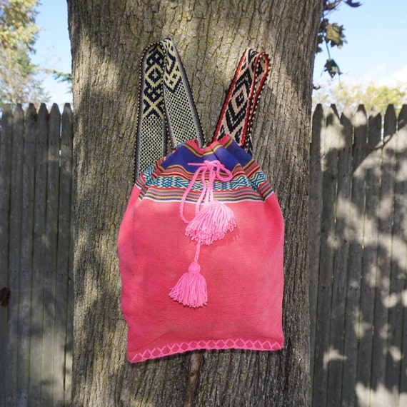 gypsy peruvian backpack, hipster handmade bag, art