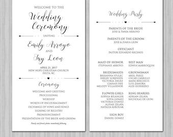 Wedding Program - Script - Calligraphy- Wedding Program Cards - Wedding Program Book - Wedding Program Printables - Colors Available