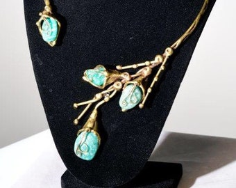 Antique Brass Asymetrical Collar Necklace With Green Amazonite