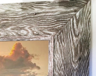 """16 x 20 x (5* x 1.5)"""" Authentic Reclaimed Barnwood Frame, Natural Gray & White Patina, RePurposed Antique Vintage Farmhouse Barn Wood Frames"""
