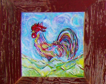 Barn Wood Frame Around a 16 x 16 Rooster Oil on Canvas, BarnWood, Recycled, RePurposed, UpCycled, Reclaimed, Vintage Farmhouse Wood Frames!
