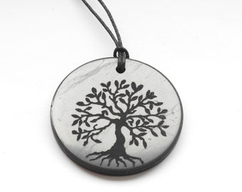 INFINITY  Energy Circle  Shungite Pendant Necklace Authentic Natural Stone