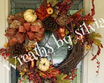Fall wreath, Fall Grapevine Wreath, Thanksgiving Wreath, Autumn Wreath, Fall Wreaths, Fall Floral Wreath,