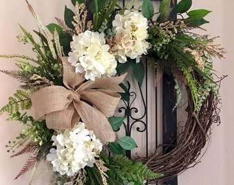 Floral Ivory White Hydrangea Wreath, All Seaon Grapevine Wreath, Hydrangea  Wreath, Wreath For Front Door, Front Door Wreath, Flower Wreath