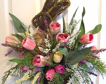 Easter wreath, bunny wreath, easter bunny wreath, spring wreath, spring wreath for front door, easter wreath for front door, floral easter