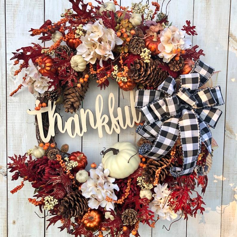30 Large Fall Thanksgiving Autumn Pumpkin Wreath for image 0