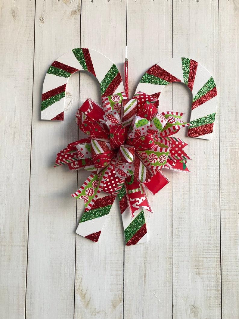 Christmas Double Candycane Wreath Door Hanger Christmas Door Etsy
