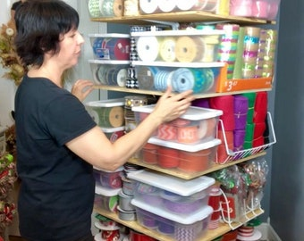 Learn how to make a ribbon storage tree stand shelf tutorial, ribbon storage DIY, ribbon storage tutorial, ribbon craft storage ideas DIY