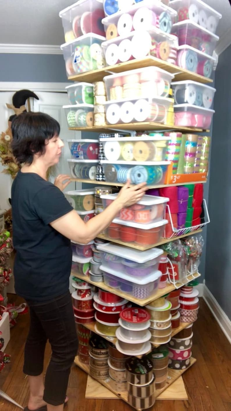 Learn how to make a ribbon storage tree stand shelf tutorial image 0