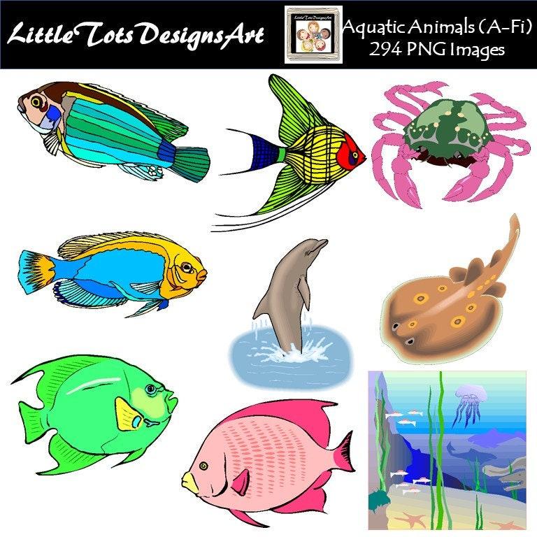 Meerjungfrau-Freunde Aquarell Clipart ClipArt Fisch   Etsy