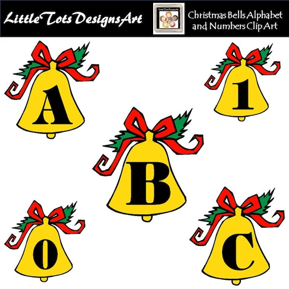 Christmas Bells Images Clip Art.Christmas Alphabet Clipart Christmas Bells Alphabet And Numbers Christmas Clipart Personal And Commercial Use