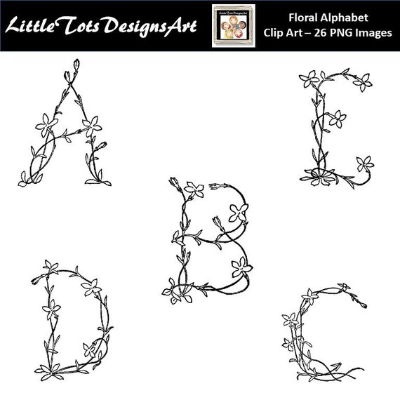photograph relating to Printable Monogram Letters named Hand Drawn Floral Alphabet Clipart, Floral Letters Clipart, Printable Monogram Letters, Letters and Bouquets, Marriage Clipart, Business Employ the service of