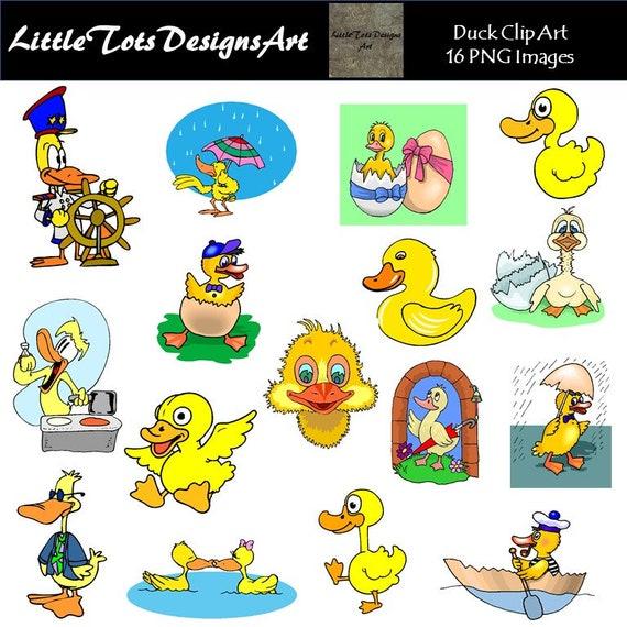 Color Ducks Clip Art set of 6 images