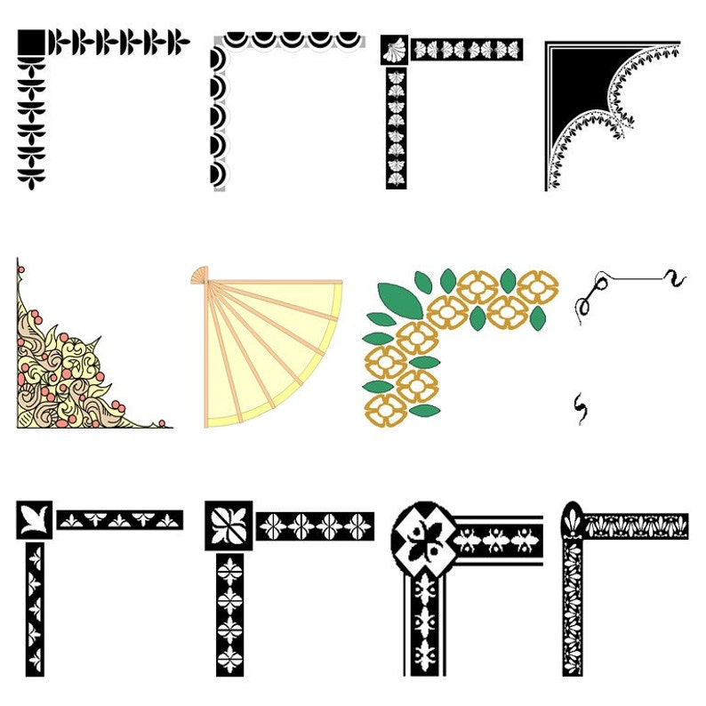 Decorative Corners Frame Corners PNG Digital Clip Art Personal or Commercial Use Instant Digital Download