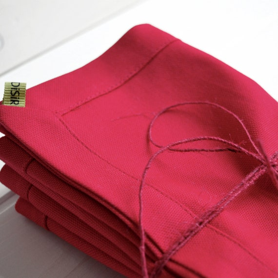 4 lose Servietten Napkins Little Red Robin linen