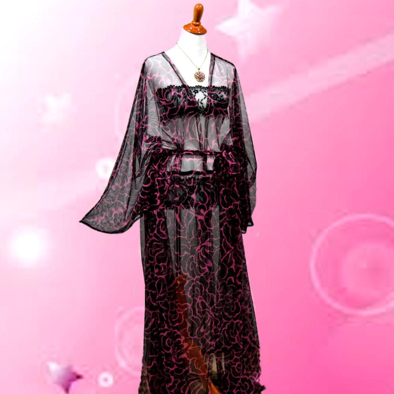 Caliente traje de pura rosa kimono Floral ropa interior | Etsy