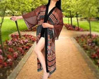 Brown Black kimono, women long robe, cozy striped robe, breezy cardigan, east west strip robe, long kimono, chic cardigan, everyday kimono