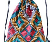Backpack colour squares | backpack | pagne | Julius Holland | Vlisco wax | unique | Weird