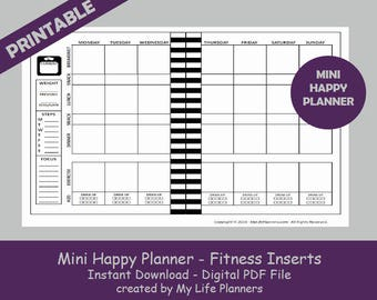 graphic regarding Free Mini Happy Planner Printable Inserts named Substantial Conditioning Content Planner Inserts Printable Content Planner Etsy
