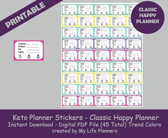 Keto Planner Stickers Ketosis Trend Keto Diet Macro Tracker Keto Tracker Printable Stickers Mambi Classic Happy Planner Pdf Download